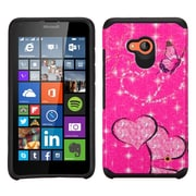 Insten Butterfly/Heart Armor Hard Hybrid Silicone Case For Microsoft Lumia 640 - Hot Pink