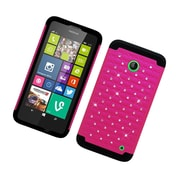 Insten Hard Hybrid Rubber Coated Silicone Cover Case For Nokia Lumia 630/635 - Hot Pink/Black