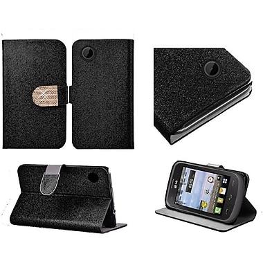 Insten Flip Leather Glitter Case w/stand/card holder/Diamond For LG 306G - Black/Gold