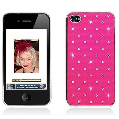 Insten Hard Chrome Cover Case with Diamond for iPhone 4 4S - Hot Pink