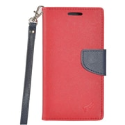 Insten PU Leather Wallet Flip Pouch Credit Card Stand Cover Case For ZTE Tempo - Red/Blue