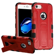 Insten Hard Hybrid Rubberized Silicone Cover Case w/stand/Holster For Apple iPhone 7 - Red/Black