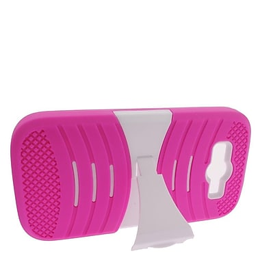 Insten Hybrid Rubber Hard Case with stand For ZTE Imperial II - Hot Pink/White