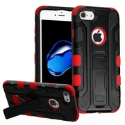 Insten Hard Dual Layer Rubber Coated Silicone Cover Case w/stand/Holster For Apple iPhone 7 - Black/Red
