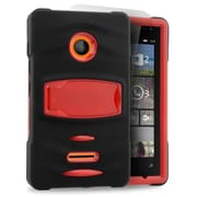 Insten Gel Hybrid Rubber Hard Case with stand For Microsoft Lumia 435 - Black/Red