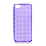 Insten Checker Gel Transparent Cover Case For Apple iPhone 5/5S - Purple