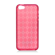 Insten Checker Gel Transparent Case For Apple iPhone 5/5S - Red