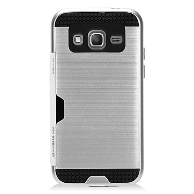Insten Hard Hybrid Dual Layer Case with card slot holder For Samsung Galaxy Core Prime - Silver/Black