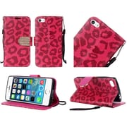 Insten Leopard Book-Style Diamond Leather Stand Fabric Case w/Lanyard For Apple iPhone SE / 5 / 5S - Hot Pink/Black