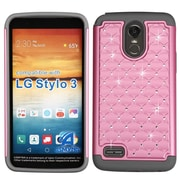 Insten FullStar Diamond Bling Hybrid Protective Cover Case For LG Stylo 3 - Pearl Pink/Gray
