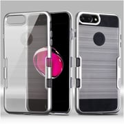 Insten Hard Hybrid Crystal TPU Case For Apple iPhone 7 Plus - Clear/Silver