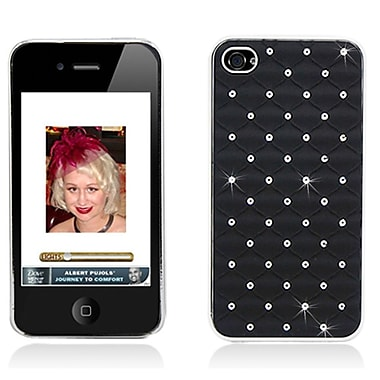 Insten Hard Rubber Chrome Case with Diamond for iPhone 4 4S - Black