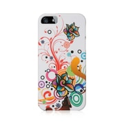 Insten Hard Crystal Rubber Skin Back Protective Shell Cover Case For Apple iPhone 5 / 5S - White Autumn Flower