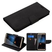 Insten Flip Leather Fabric Case w/stand/card slot For ZTE Axon 7 - Black
