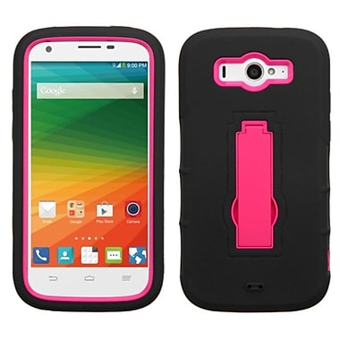Insten Symbiosis Soft Hybrid Rubber Hard Case w/stand For ZTE Imperial II - Black/Hot Pink