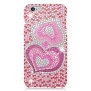 Insten Hearts Hard Diamante Cover Case For iPhone 6s Plus / 6 Plus - Pink