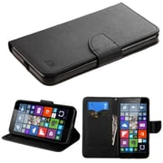 Insten Flip Leather Fabric Cover Case w/stand/card holder For Microsoft Lumia 640 XL - Black