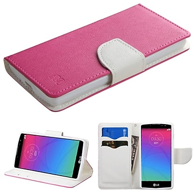 Insten Book-Style Leather Fabric Case w/stand/card slot For LG Spirit 4G - Hot Pink/White