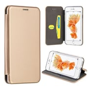 Insten Flip Leather Fabric Case w/stand/card holder For Apple iPhone 7 Plus - Gold