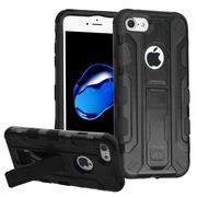 Insten Hard Dual Layer Silicone Case w/stand/Holster For Apple iPhone 7 - Black