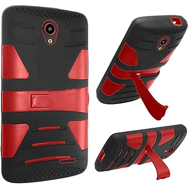 Insten Hard Hybrid Rubber Coated Silicone Case w/stand For ZTE Prestige - Black/Red