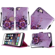 Insten Flowers Book-Style Leather Fabric Stand Cover Lanyard Case For Apple iPhone 6s Plus / 6 Plus - Purple/White