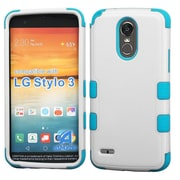 Insten TUFF Hybrid Dual Layer Protective Case [Military-Grade Certified] For LG Stylo 3 - Ivory White/Tropical Teal
