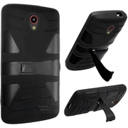 Insten Hard Dual Layer Rubber Coated Silicone Case w/stand For ZTE Prestige - Black