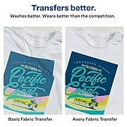 "Avery Stretchable Heat Transfers for Light Fabrics, Inkjet, 8.5"" x 11"", 5 Transfers/Pack (3302)"