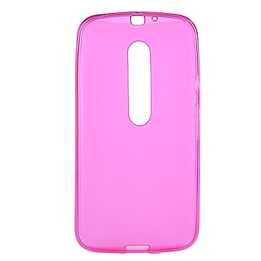 Insten Transparent Frosted TPU Rubber Candy Skin Case Back Cover For Motorola Moto G (3rd Gen) - Hot Pink