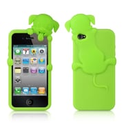 Insten High-End Dog Design Silicone Skin Back Gel Soft Case Cover For Apple iPhone 4 / 4S - Green
