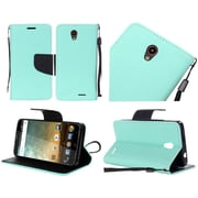 Insten Book-Style Leather Fabric Case Lanyard w/stand For ZTE Prestige - Teal/Black