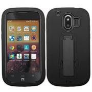 Insten Black/Black Symbiosis Stand Hybrid Hard Shockproof Silicone Dual Layer Case Cover For ZTE Compel Z830
