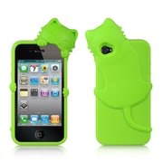 Insten High-End Cat Design Silicone Skin Back Gel Soft Case Cover For Apple iPhone 4 / 4S - Green