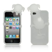 Insten High-End Dog Design Silicone Skin Back Gel Soft Case Cover For Apple iPhone 4 / 4S - White