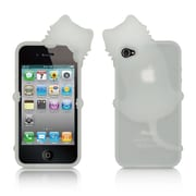 Insten High-End Cat Design Silicone Skin Back Gel Soft Case Cover For Apple iPhone 4 / 4S - White