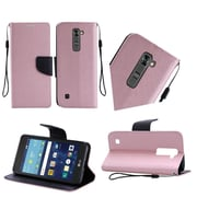 Insten Book-Style Leather Fabric Cover Case Lanyard w/stand For LG K7 - Rose Gold/Black