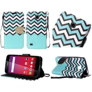 Insten Chervon Book-Style Leather Fabric Case Lanyard w/stand/Diamond For Huawei Union - Teal/White
