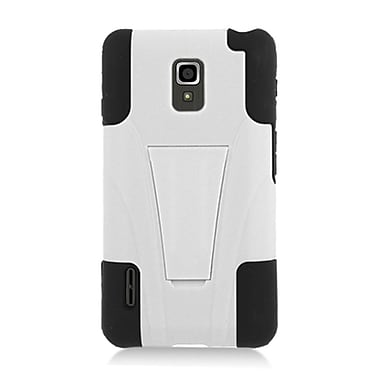 Insten Hard Hybrid Plastic Silicone Case with stand for LG Optimus F7 US780 (US Cellular) - White/Black