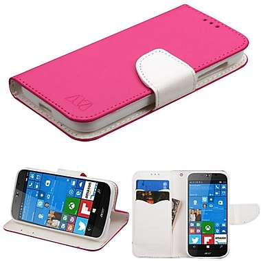 Insten Insten Luxury Wallet Leather Stand Case Cover with Card Slots for Acer Liquid - Hot Pink/White