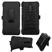 Insten Shockproof Hybrid Soft Hard Dual Layer Case Holster with Kickstand For ZTE Zmax Pro - Black