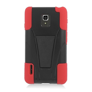Insten Hard Hybrid Plastic Silicone Case with stand for LG Optimus F7 US780 (US Cellular) - Black/Red