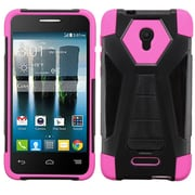 Insten Dual Layer Hybrid Soft Hard Case with KickStand For Alcatel One Touch Fierce 4 - Black/Hot Pink