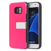 Insten Moderne Series Luxury Card Holder Hard Case with Stand For Samsung Galaxy S7 - Hot Pink