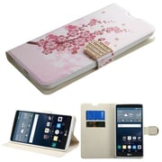 Insten Flip Leather Fabric Cover Case w/stand/card slot/Diamond For LG G Stylo - Pink/White