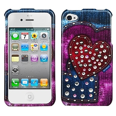 Insten Rainbow Jean Hearts Snap-On Phone Cover Hard Case Skin For Apple iPhone 4 4S