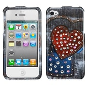 Insten Black Jean Hearts Snap-On Phone Cover Hard Case Skin For Apple iPhone 4 4S