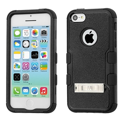 Insten Hard Hybrid Rubber Silicone Cover Case w/stand For Apple iPhone 5C - Black