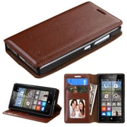 Insten Book-Style Leather Fabric Cover Case w/stand/card slot/Photo Display For Microsoft lumia 435 - Brown