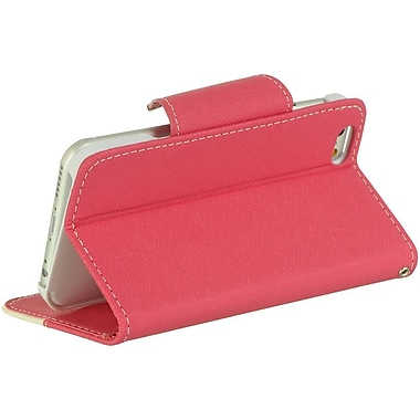 Insten Flip Leather Fabric Case Lanyard w/stand/card slot For Apple iPhone 6 / 6s - Hot Pink/White
